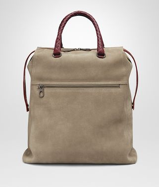 TOTE BAG IN ASH SUEDE, CAIMAN DETAILS IN BAROLO