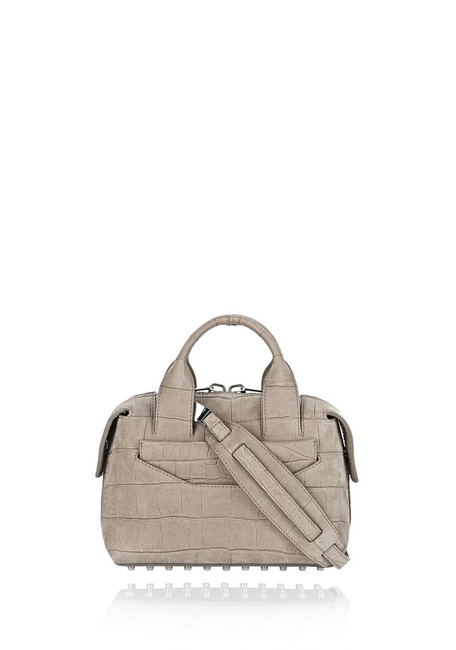 ALEXANDER WANG Shoulder bags Women ROGUE SMALL SATCHEL IN CROC EMBOSSED AND NUBUCK SAGE WITH RHODIUM