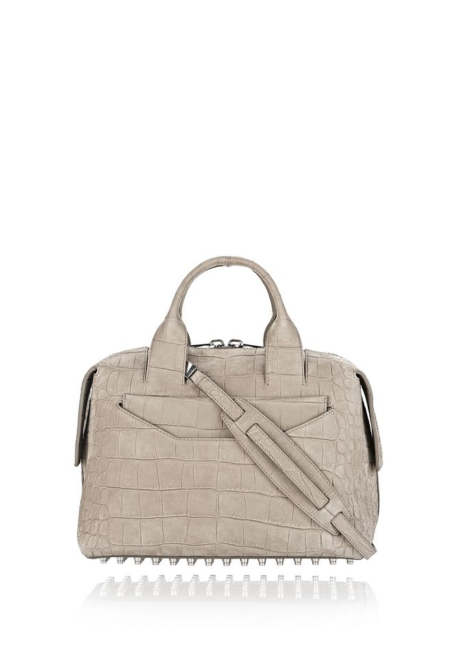 ALEXANDER WANG Shoulder bags Women ROGUE LARGE SATCHEL IN CROC EMBOSSED AND NUBUCK SAGE WITH RHODIUM