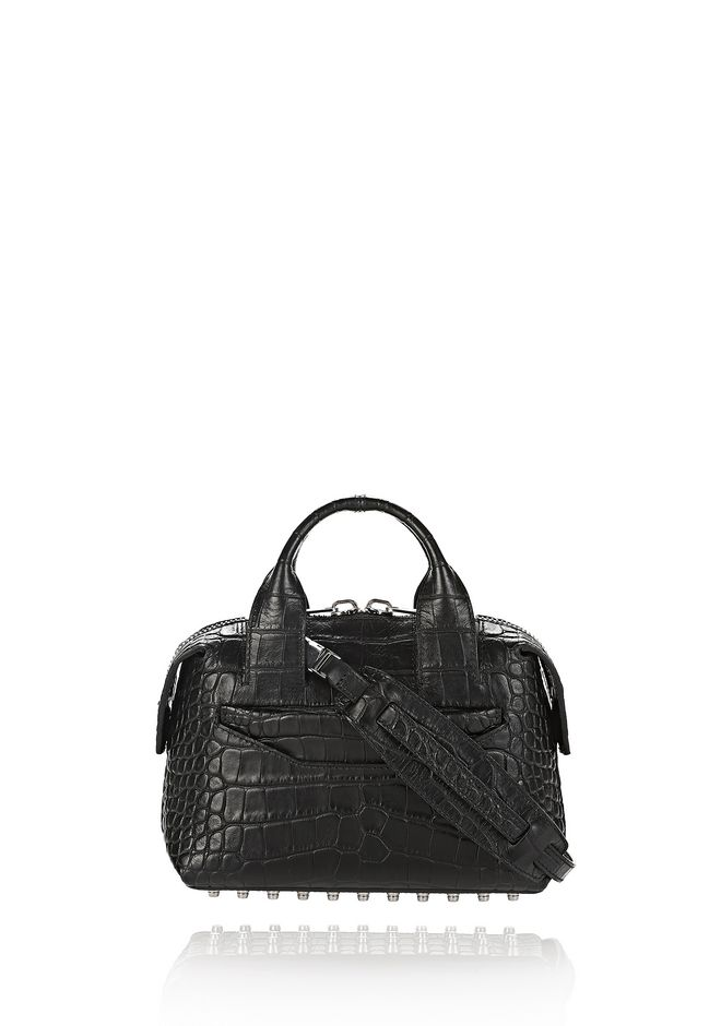 ALEXANDER WANG Shoulder bags Women ROGUE SMALL SATCHEL IN MATTE CROC EMBOSSED BLACK WITH RHODIUM