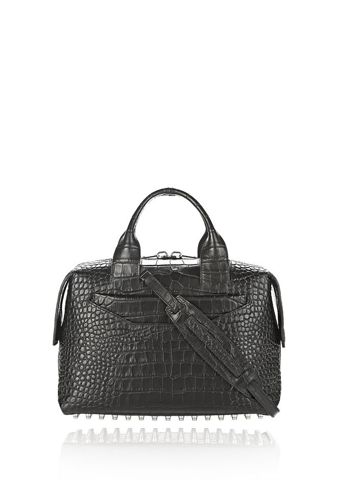 ALEXANDER WANG Shoulder bags Women ROGUE LARGE SATCHEL IN MATTE CROC EMBOSSED BLACK WITH RHODIUM