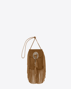 anita fringed flat bag in light ochre leather