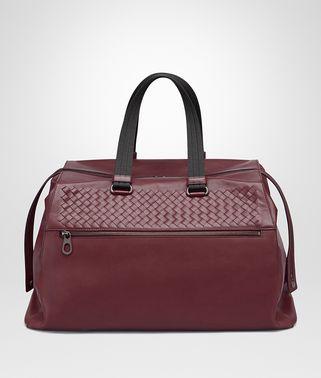 酒红色小牛皮旅行包,饰编织细节