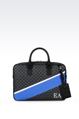 Armani Briefcases Men briefcase in logo patterned pvc