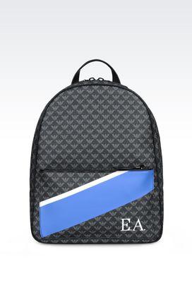 Armani Backpacks Men backpack in logo patterned pvc