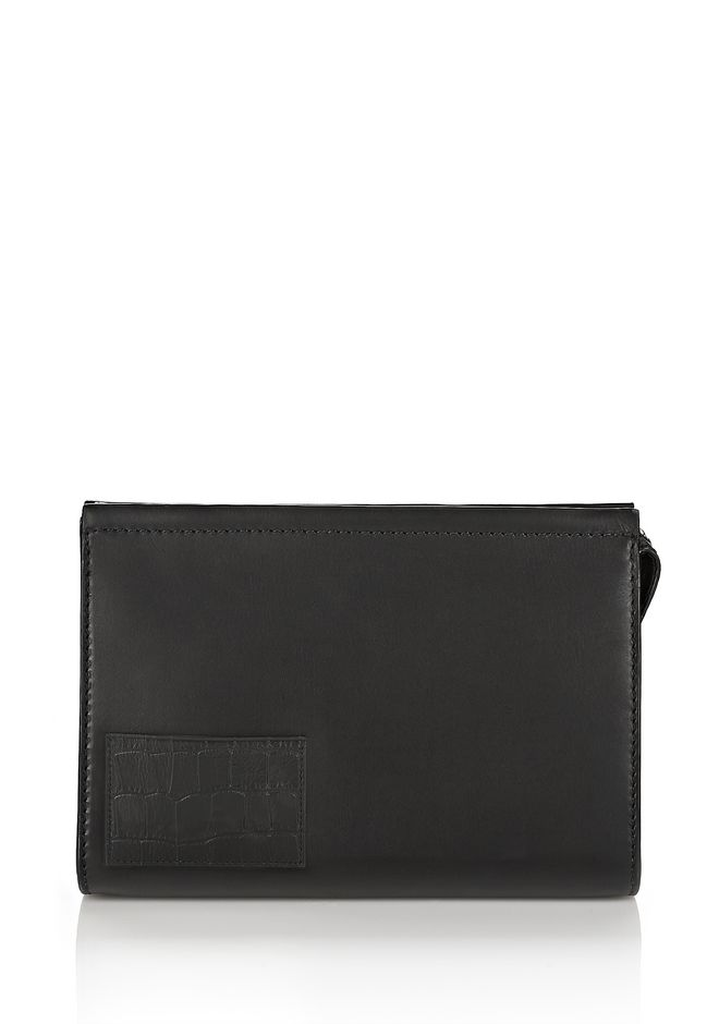 ALEXANDER WANG accessories LARGE POUCH IN BLACK WITH CROC EMBOSSED CARDHOLDER