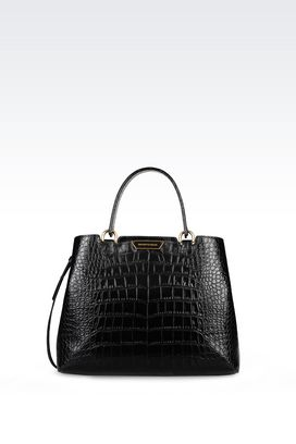 Armani Top handles Women medium tote bag in croc print calfskin