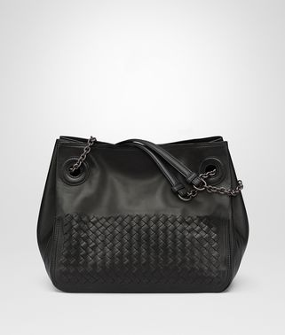 TOTE BAG IN NERO NAPPA LEATHER, INTRECCIATO DETAILS