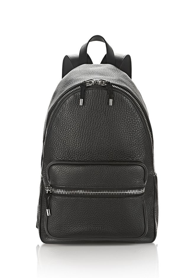 ALEXANDER WANG new-arrivals-bags-man BERKELEY BACKPACK IN SOFT PEBBLED BLACK WITH RHODIUM