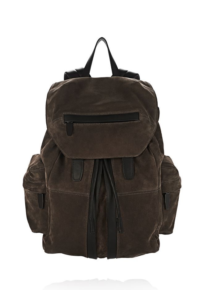 ALEXANDER WANG BACKPACKS MARTI IN GREY FINE CALF SUEDE WITH MATTE BLACK