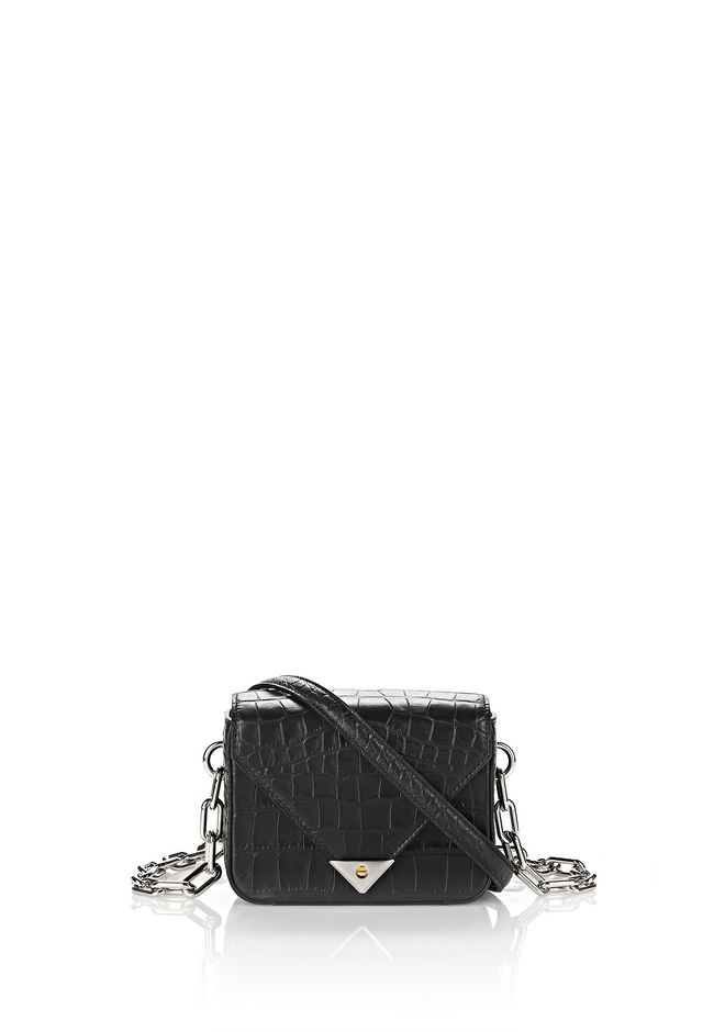 ALEXANDER WANG new-arrivals EXCLUSIVE CROC EMBOSSED MINI PRISMA ENVELOPE CHAIN SLING WITH RHODIUM