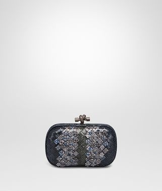 KNOT CLUTCH IN PRUSSE PACIFIC INTRECCIATO AYERS CLUB LEATHER