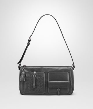 SHOULDER BAG IN ARDOISE CALF LEATHER, INTRECCIATO DETAILS