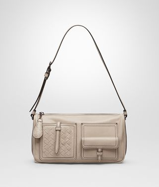 SHOULDER BAG IN MINK CALF LEATHER, INTRECCIATO DETAILS