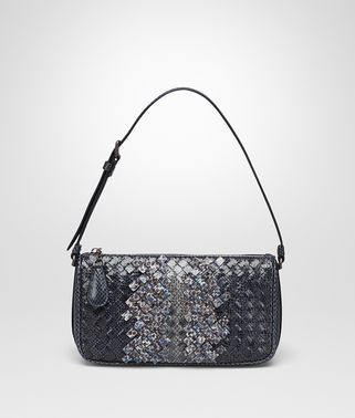 SHOULDER BAG IN PRUSSE PACIFIC INTRECCIATO AYERS CLUB LEATHER