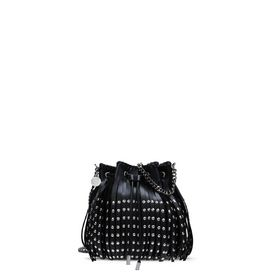 Black Falabella Studded Fringed Bucket Bag