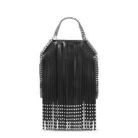 Black Falabella Studded Fringed Mini Tote