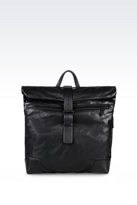 Armani Backpacks Men runway backpack in calfskin