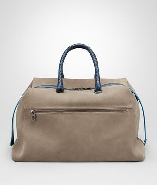 DUFFEL BAG IN ASH SUEDE, CAIMAN DETAILS IN PACIFIC