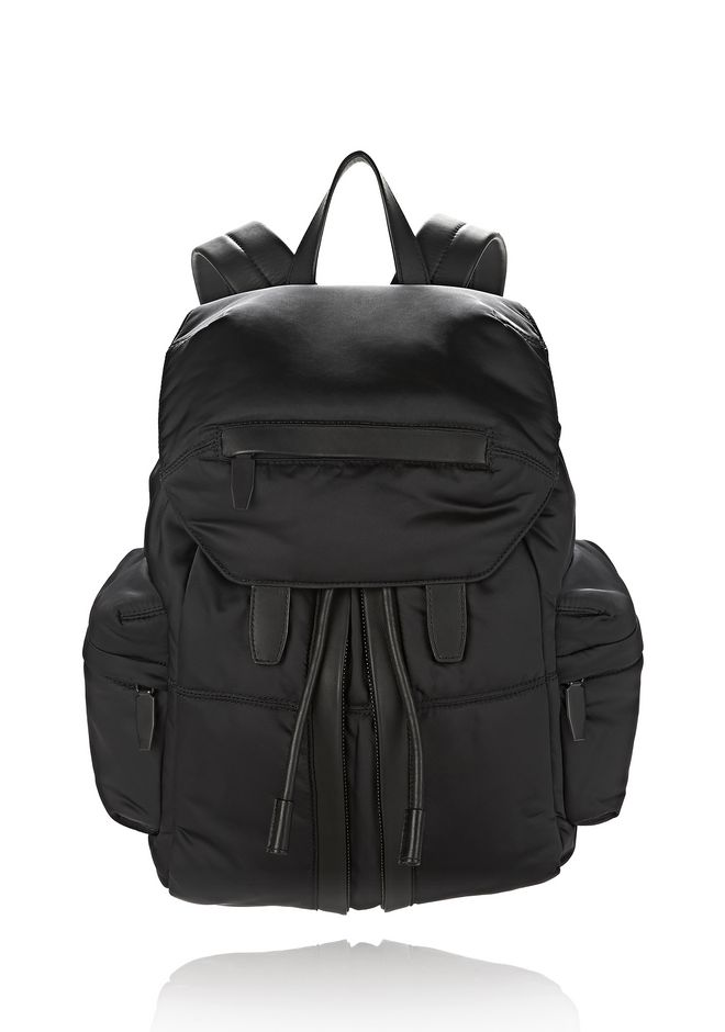ALEXANDER WANG BACKPACKS Men MARTI IN BLACK SATIN WITH MATTE BLACK