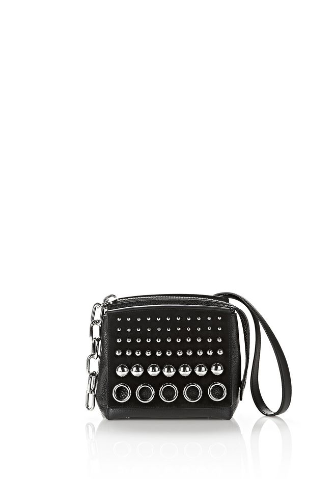 ALEXANDER WANG new-arrivals ATTICA STUDDED FLAP MARION IN BLACK SUEDE