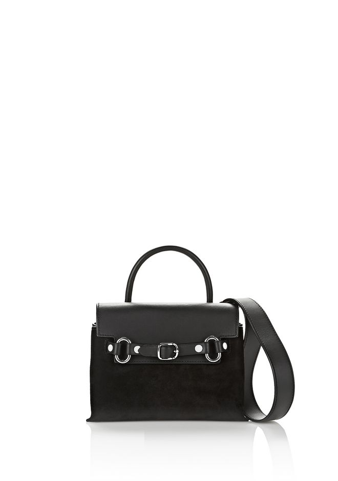 ALEXANDER WANG new-arrivals ATTICA MINI CROSSBODY IN BLACK SUEDE WITH RHODIUM