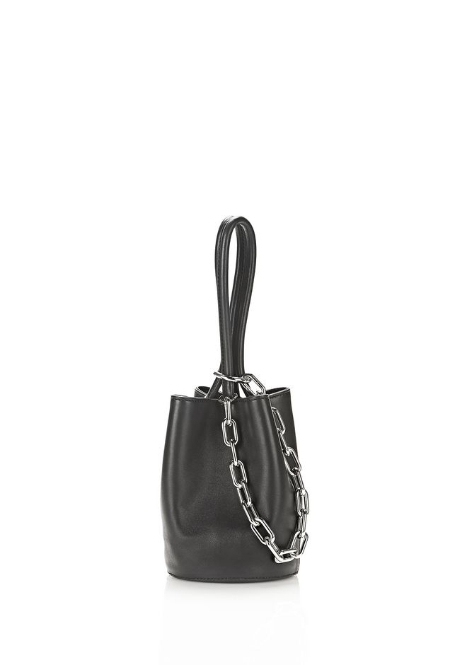 ALEXANDER WANG TOP HANDLE BAGS RUNWAY ROXY MINI BUCKET IN BLACK WITH RHODIUM