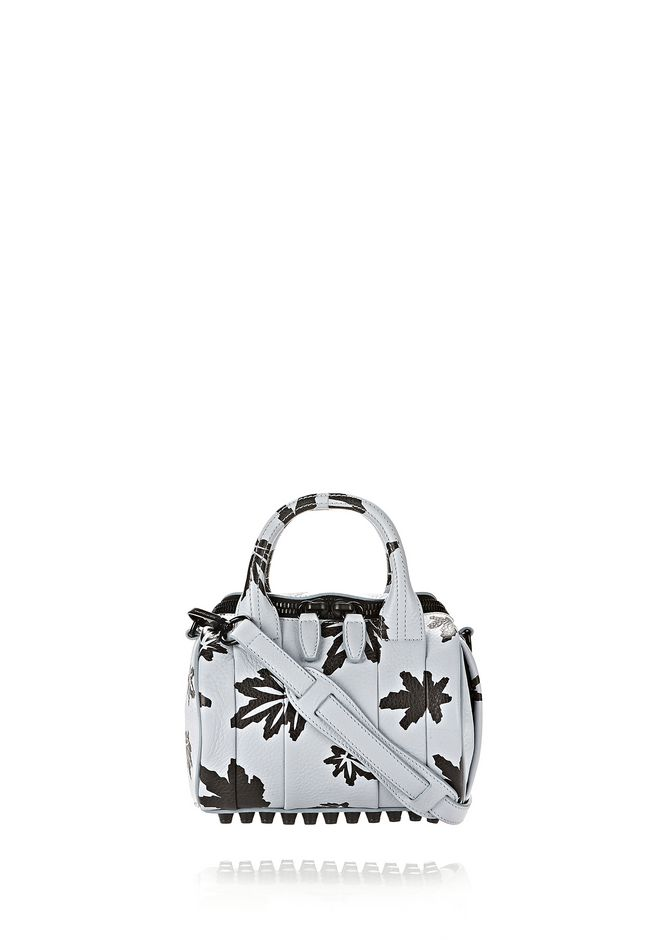 ALEXANDER WANG new-arrivals MINI ROCKIE IN PALE BLUE WITH LEAF PRINT