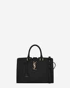 small monogram saint laurent cabas bag in black leather
