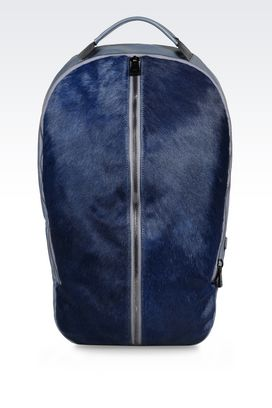 Armani Backpacks Men backpack in napa leather and pony skin