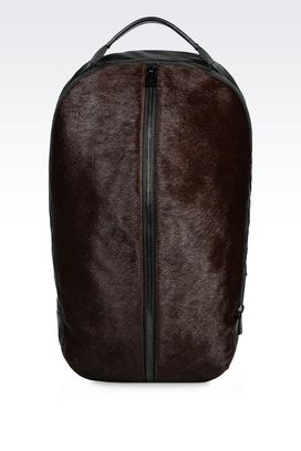 Armani Backpacks Men backpack in napa leather and pony skin