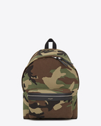 classic hunting backpack in khaki cotton gabardine camouflage and black leather