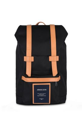 Armani Backpacks Men canvas backpack with leather details