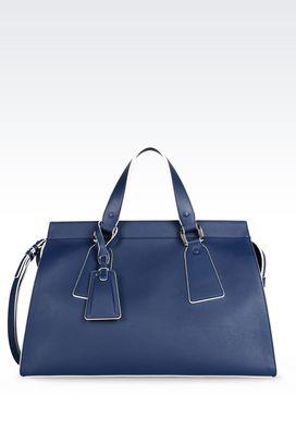Armani Top handles Women large le sac 11 bag in deer grain calfskin with contrasting trim
