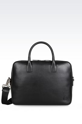 Armani Briefcases Men leather briefcase with handles and shoulder strap