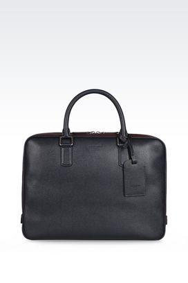 Armani Briefcases Men leather briefcase with double handle