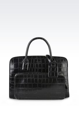 Armani Briefcases Men croc print leather briefcase with handles