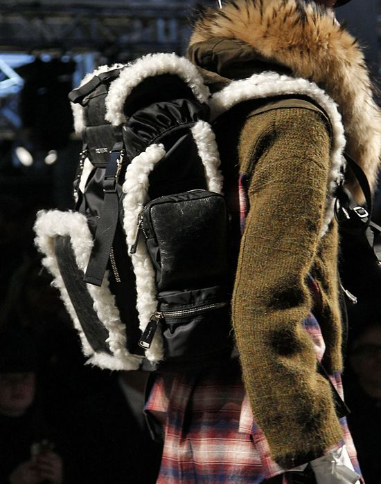 shearling-trimmed akira medium backpack handbags Man Dsquared2
