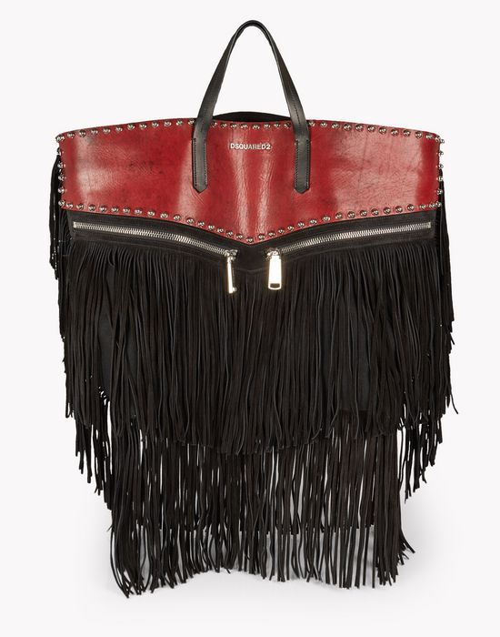 fringed leather rock tote handbags Man Dsquared2