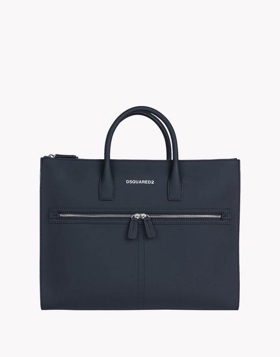 twin zip leather tote bags Man Dsquared2