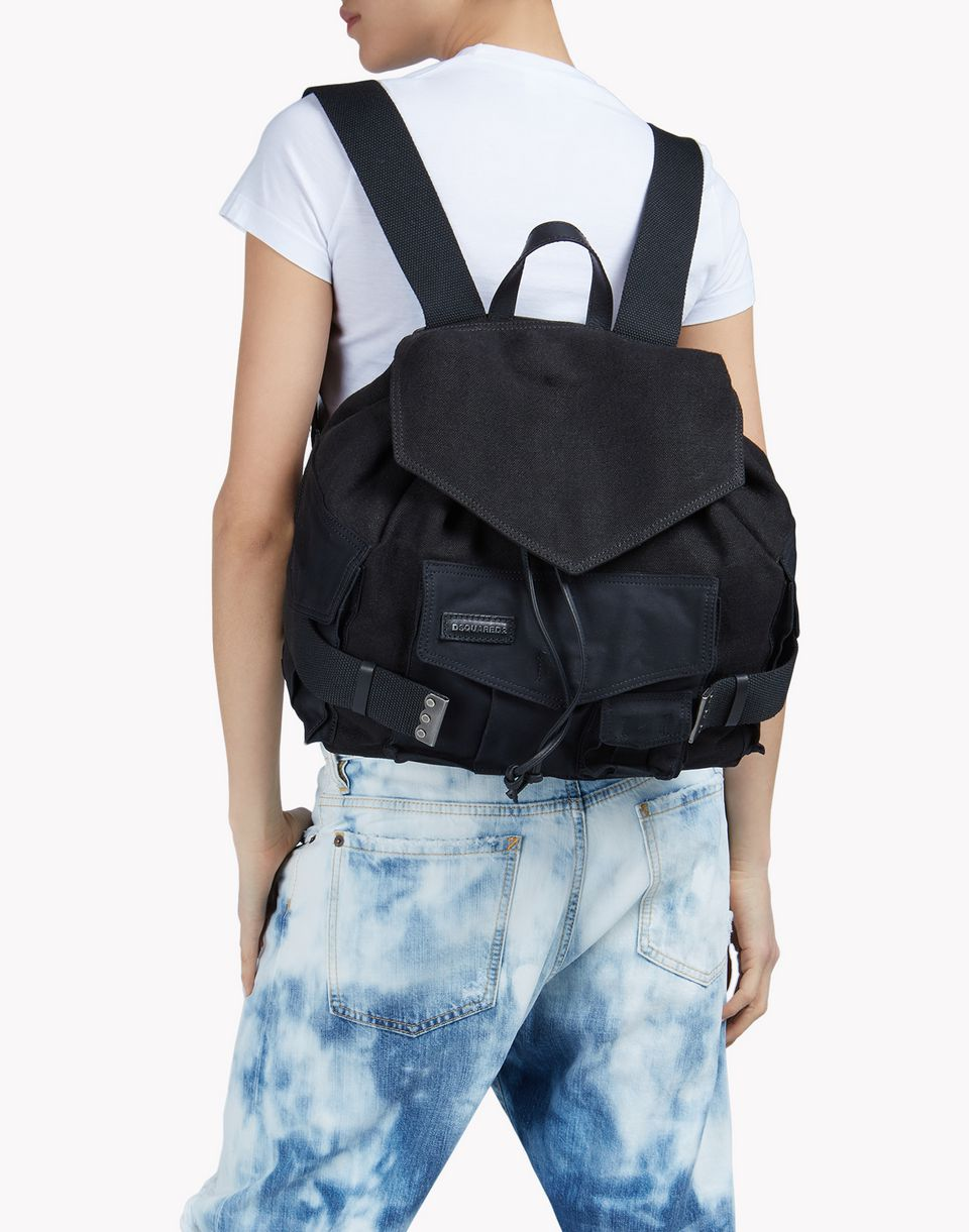 leather-trimmed canvas backpack bags Woman Dsquared2