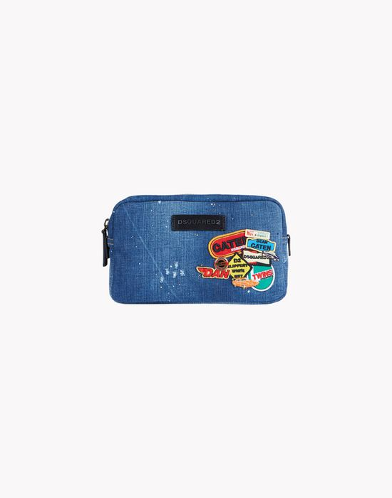 denim patch toiletry bag bags Man Dsquared2