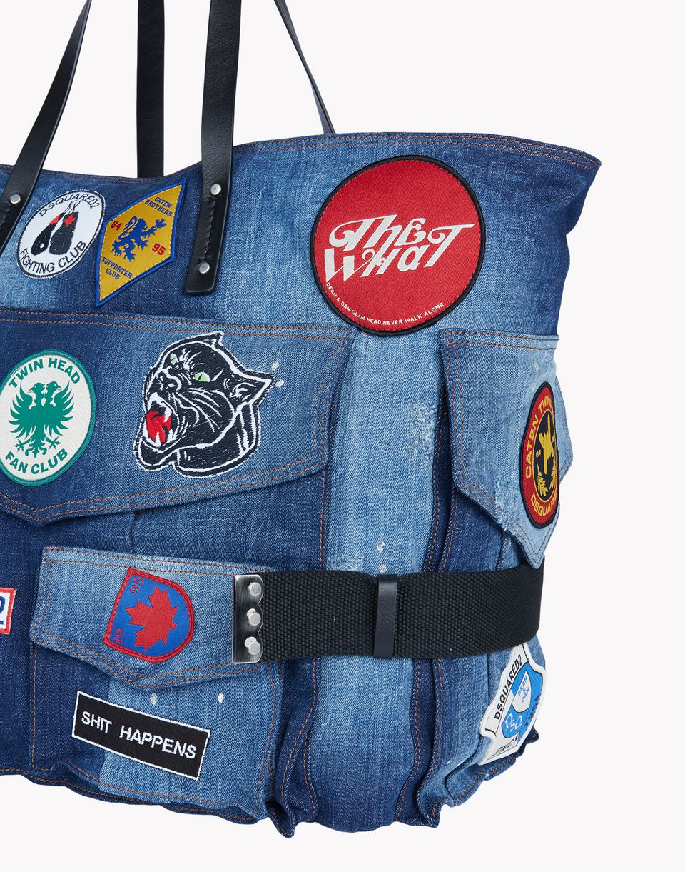 denim patch tote bags Woman Dsquared2