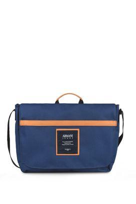 Armani Messenger bags Men canvas messenger bag with leather details