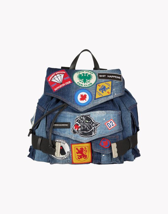 military patch denim backpack handbags Woman Dsquared2