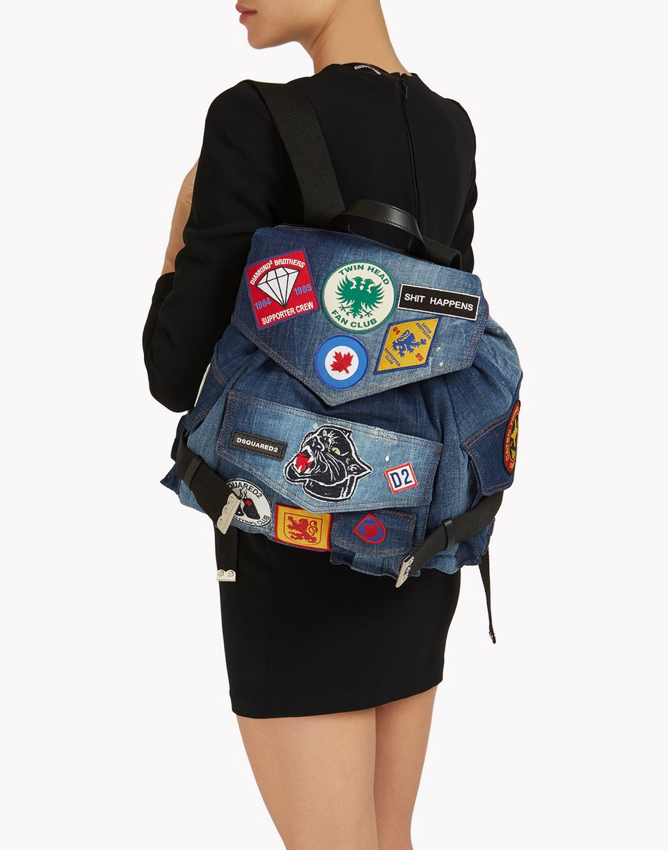 military patch denim backpack bags Woman Dsquared2