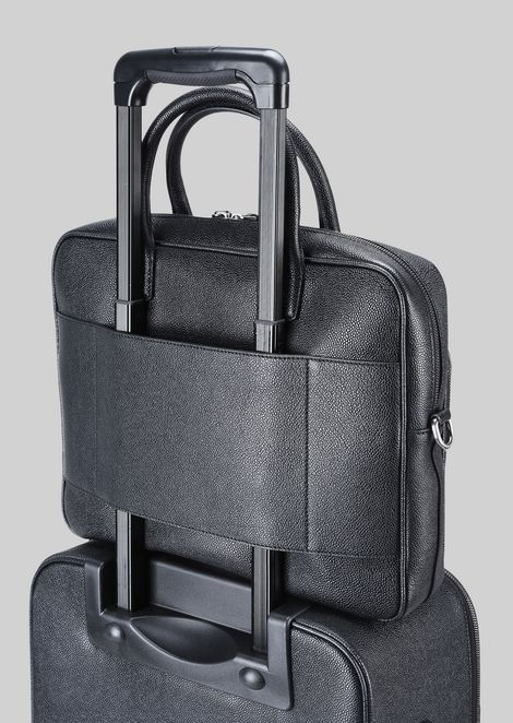LEATHER BRIEFCASE WITH HANDLE : Briefcases Men by Armani - 5