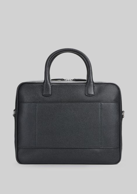 LEATHER BRIEFCASE WITH HANDLE : Briefcases Men by Armani - 3