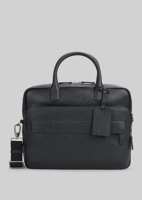 LEATHER BRIEFCASE WITH HANDLE : Briefcases Men by Armani - 1