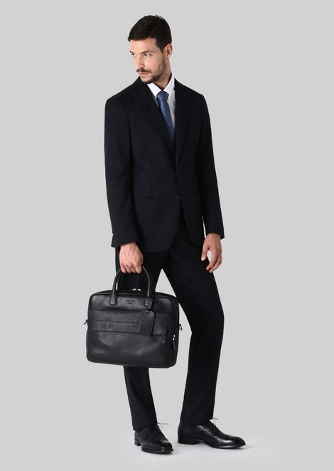 LEATHER BRIEFCASE WITH HANDLE : Briefcases Men by Armani - 2